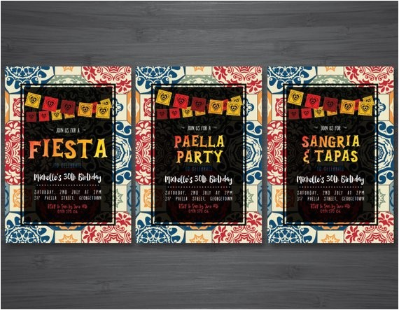 fiesta invitation sangria and tapas