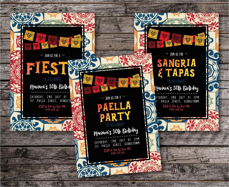 fiesta invitation sangria and tapas