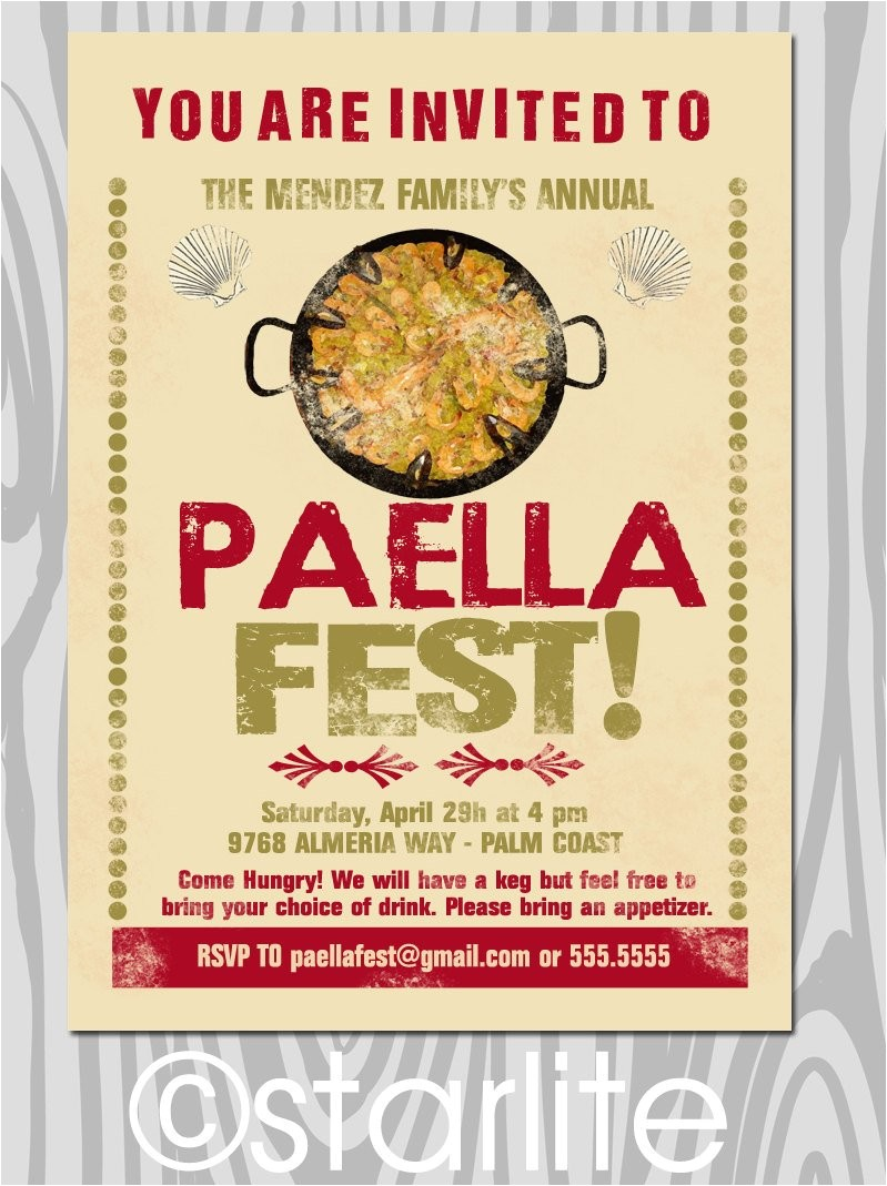 Paella Party Invitations Paella Party Invitation Paella Dinner Invitation by Starwedd
