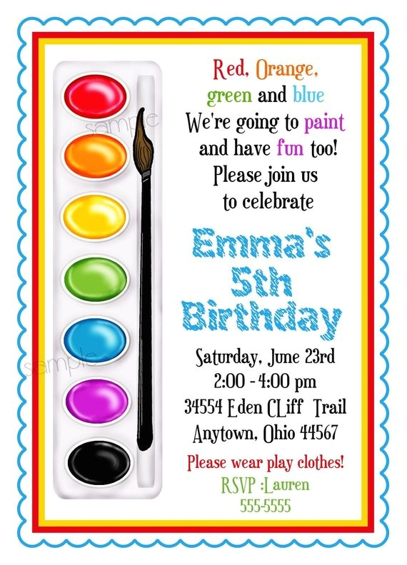 art invitations painting party birthday