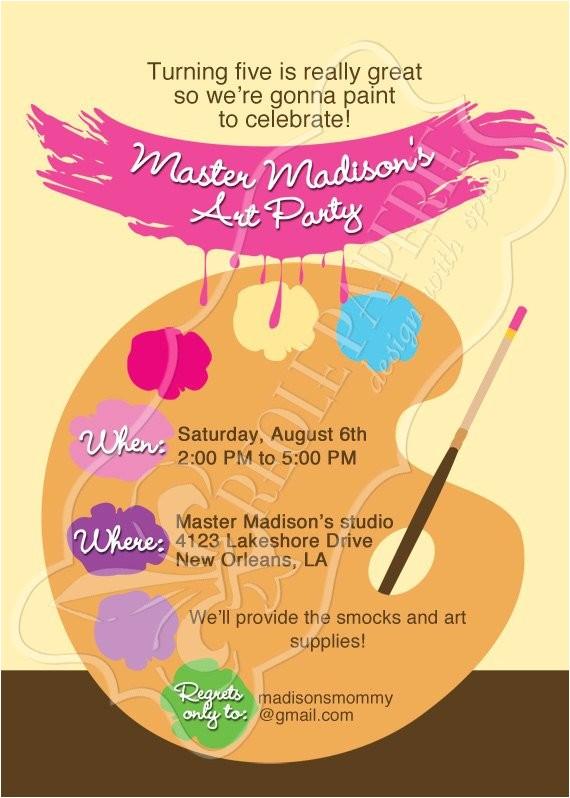 artpaint party birthday party invitation