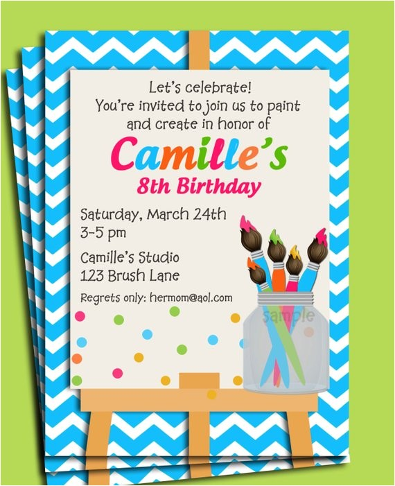 painting art party birthday invitation