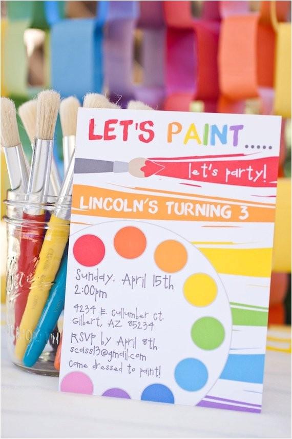 rainbow art paint party printable