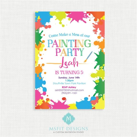 paint party birthday invitation painting