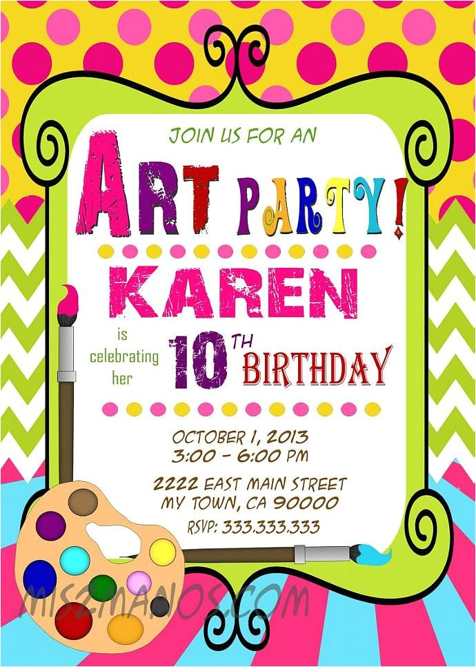 art party invitation art birthday paint party printable party girl birthday boy birthday