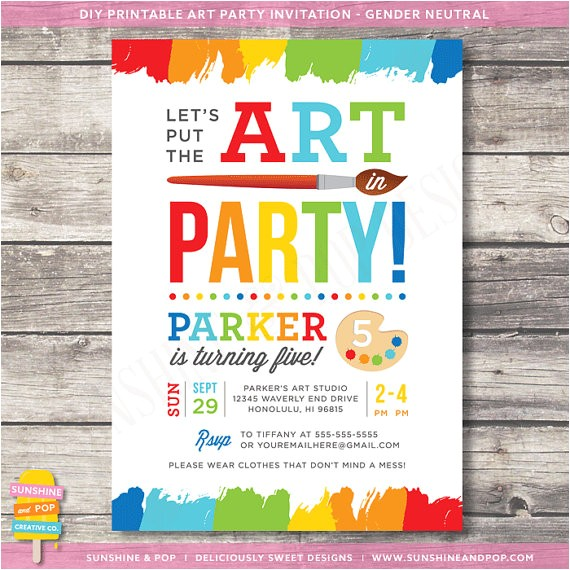 art party invitations template