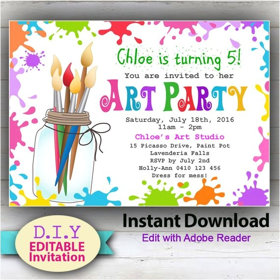 editable printable art party invitation