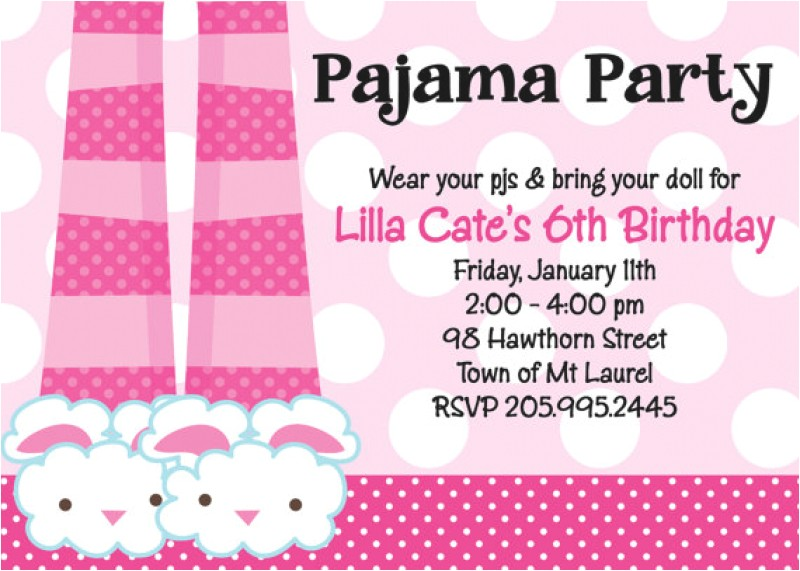 free invitation for a pajama party