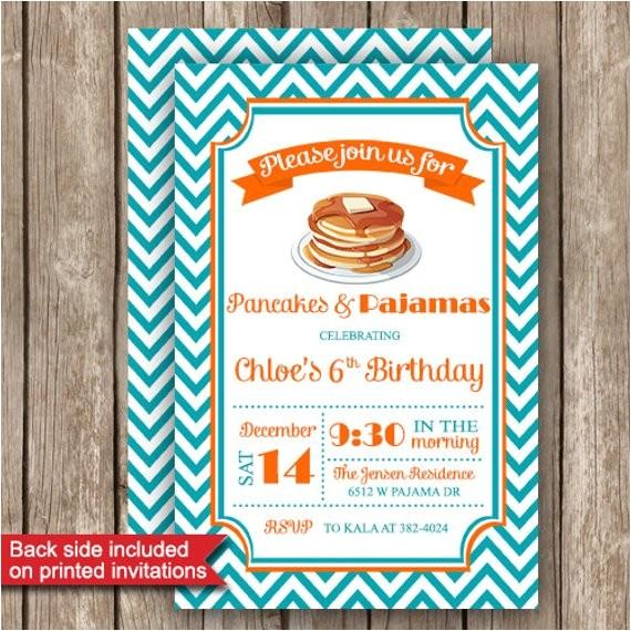 pajamas and pancakes party invitations