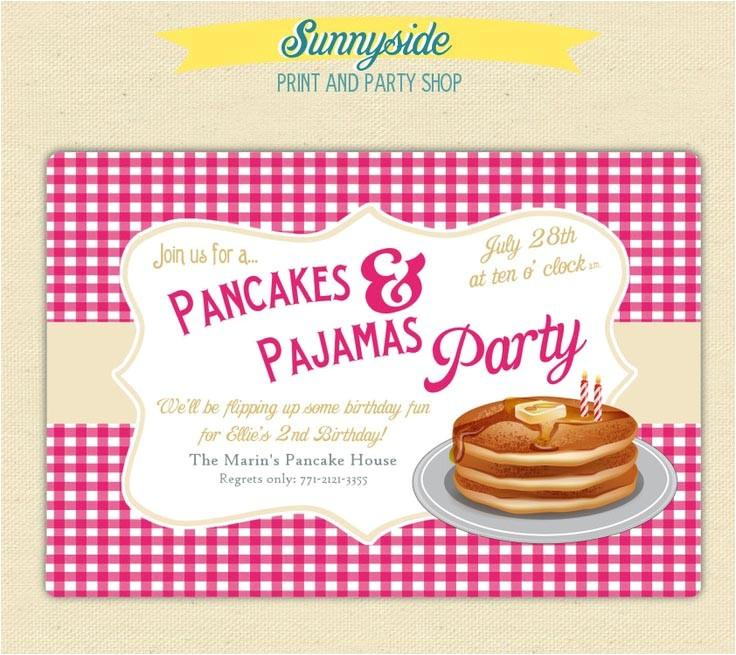 pancake and pajama birthday party invitations