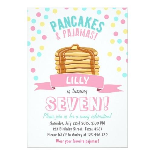 pancakes and pajamas birthday party invitation 256346052447312990
