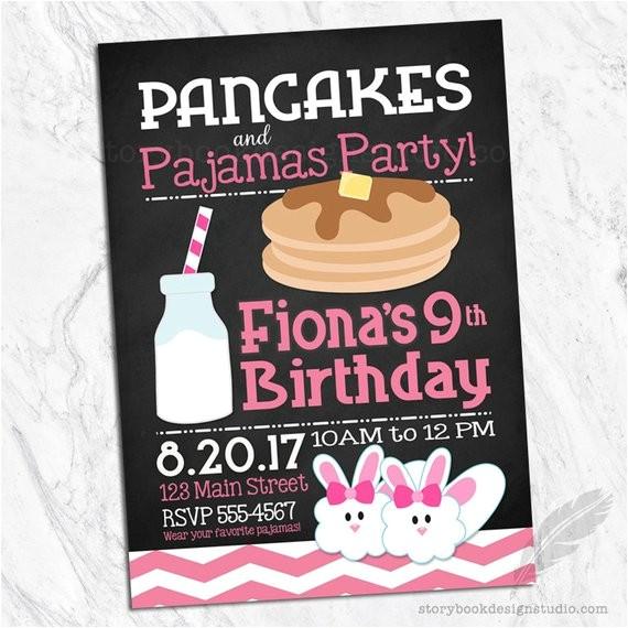 pancakes pajamas birthday party invitations brunch
