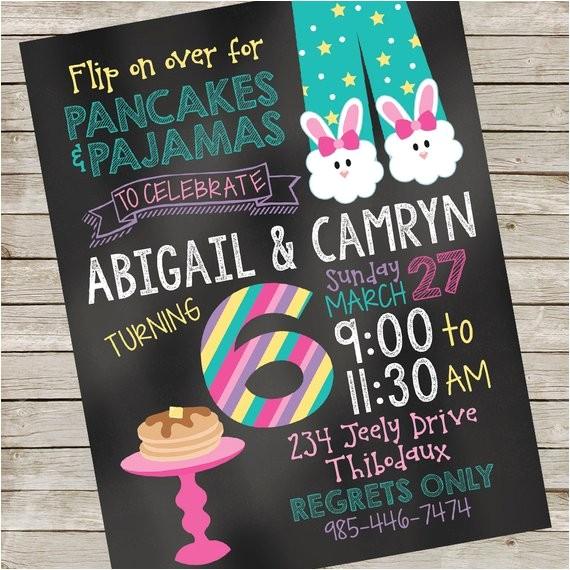 pancakes pajamas invitation piy file pancakes