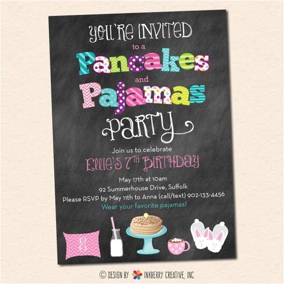 pancakes and pajamas party invitation