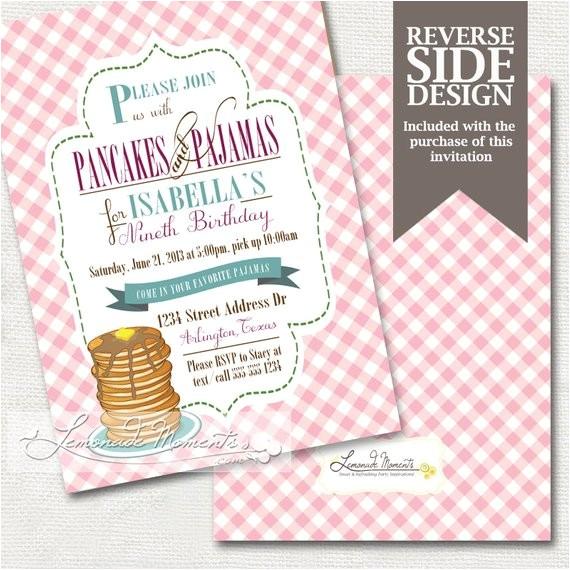 pancakes and pajamas party invitation pj