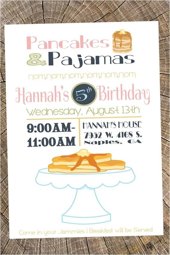 pancakes pajamas party invitation