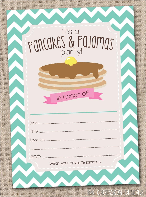 pancakes pajamas party invitations