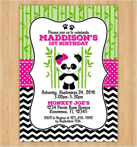 cute panda bear birthday invitation