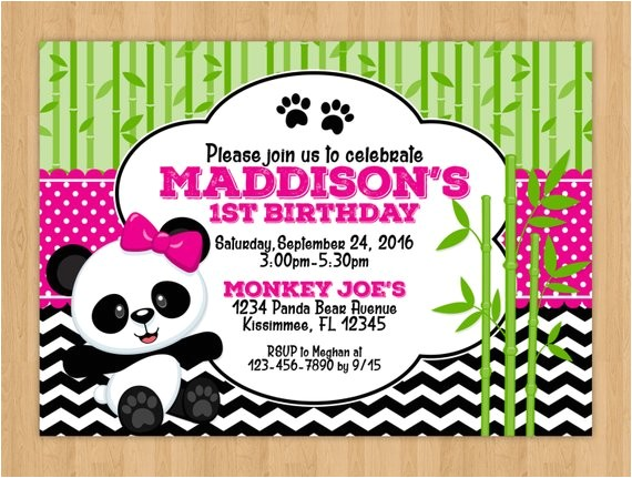 cute panda bear birthday invitation 2