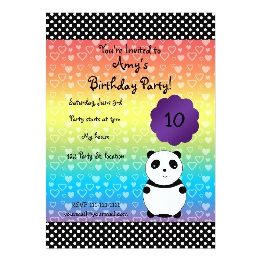 cute panda bear birthday invitation 161399012976837093