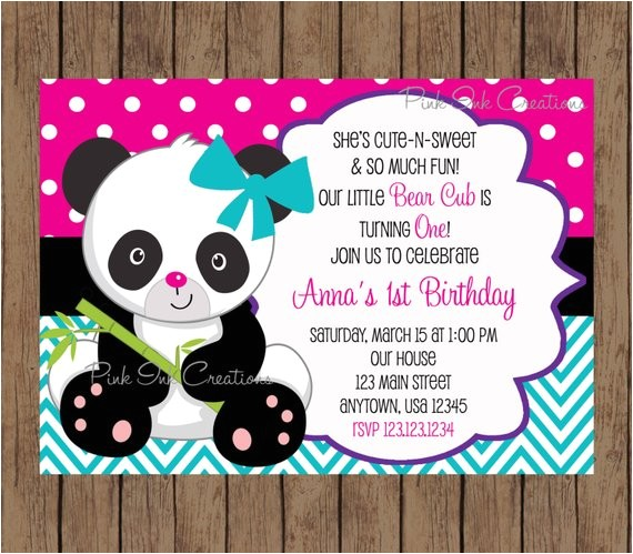 panda bear birthday invitation boy girl