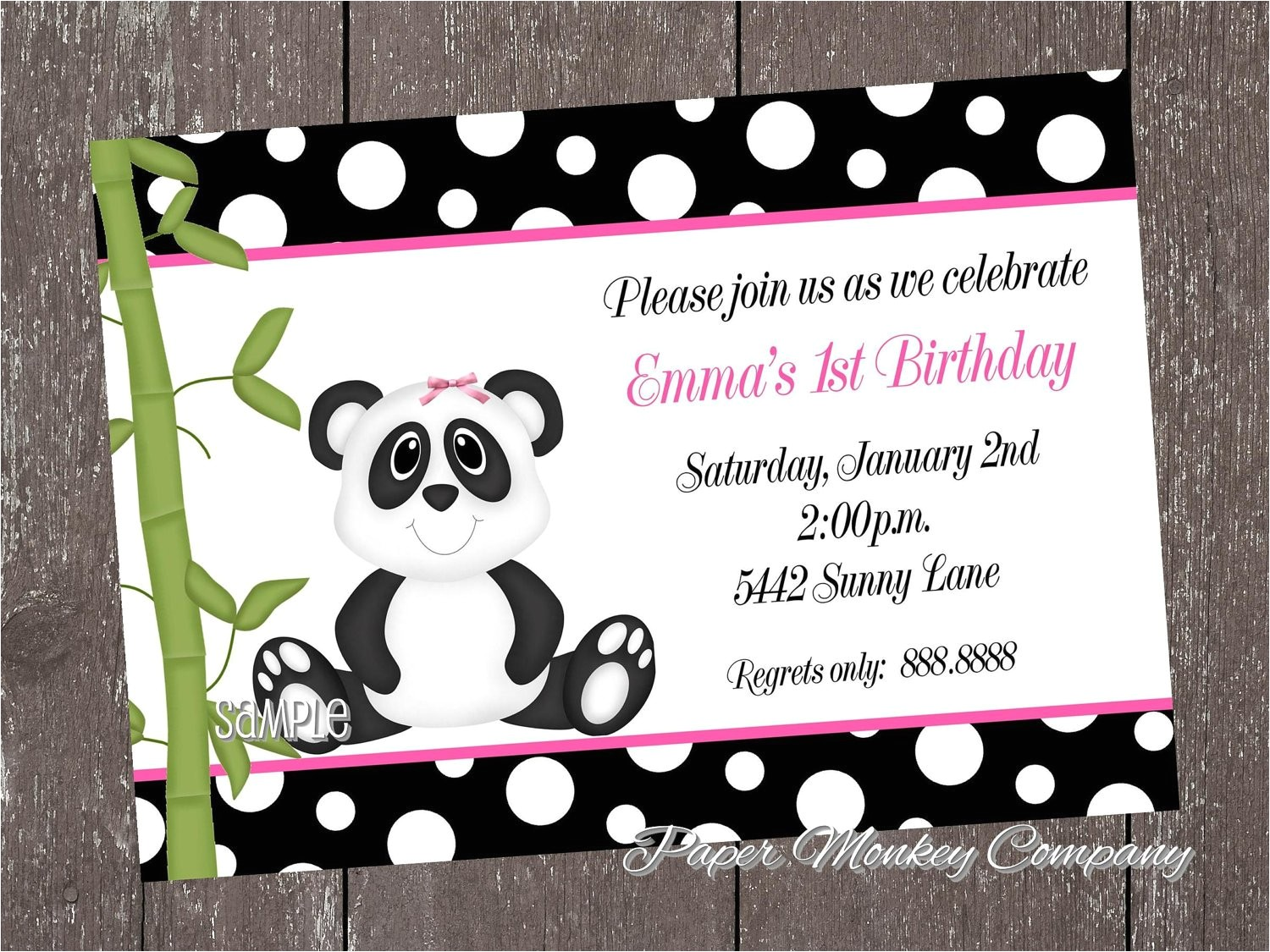 Panda Bear Birthday Party Invitations Panda Bear Birthday Invitations for Boy or Girl
