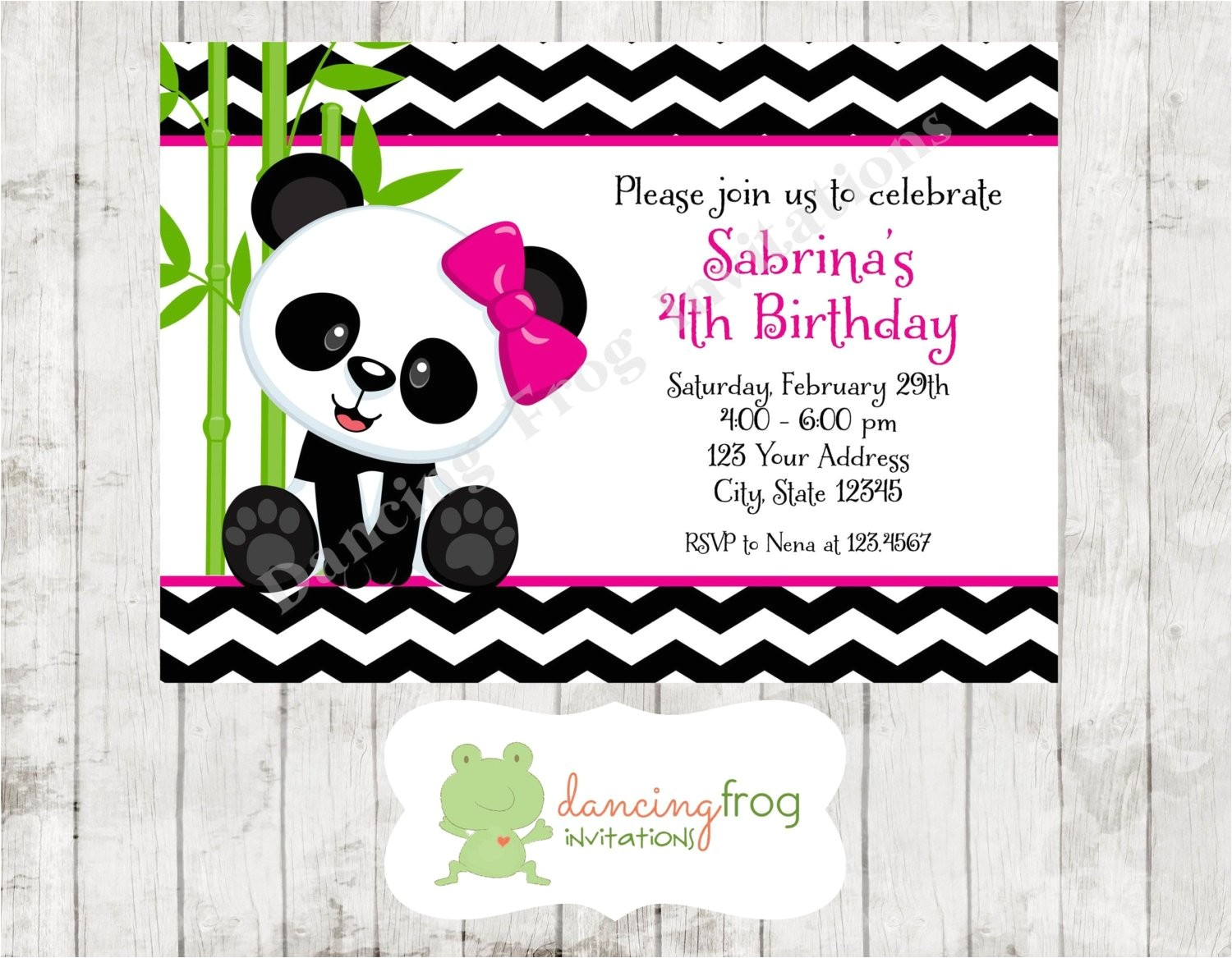panda bear birthday invitations printed
