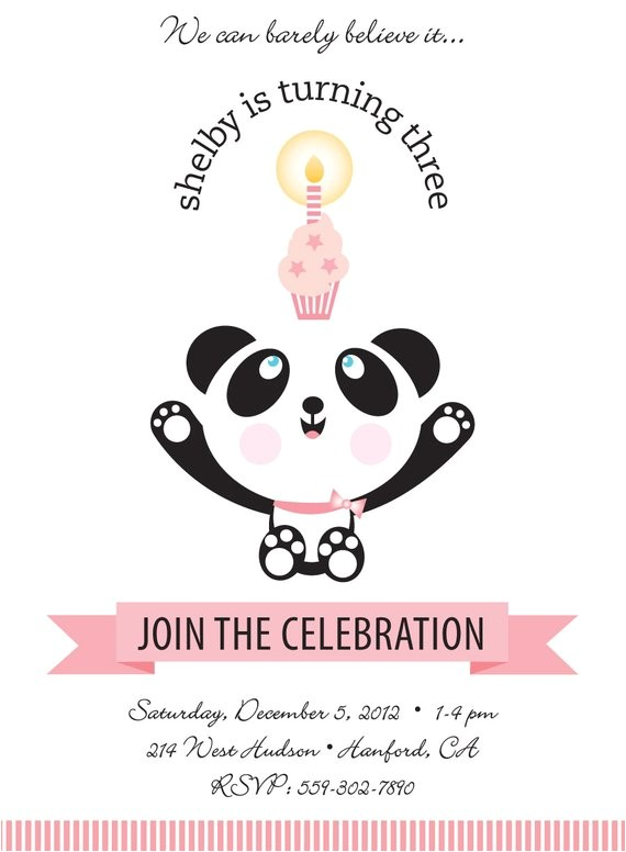 panda bear birthday party invitation for