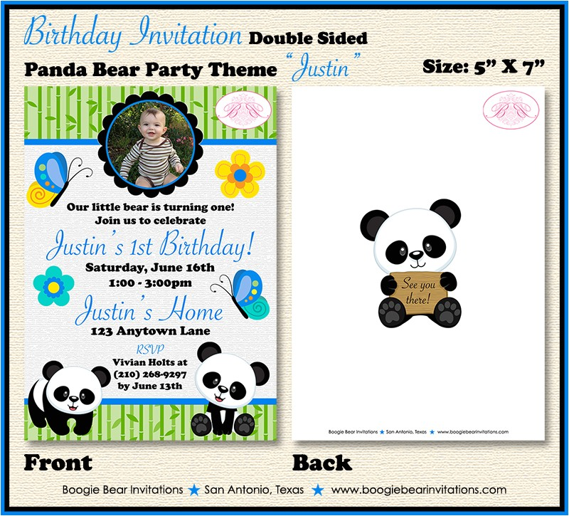 panda bear boy photo birthday party invitation justin theme