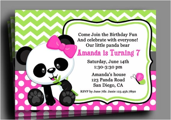 panda invitation printable birthday baby shower