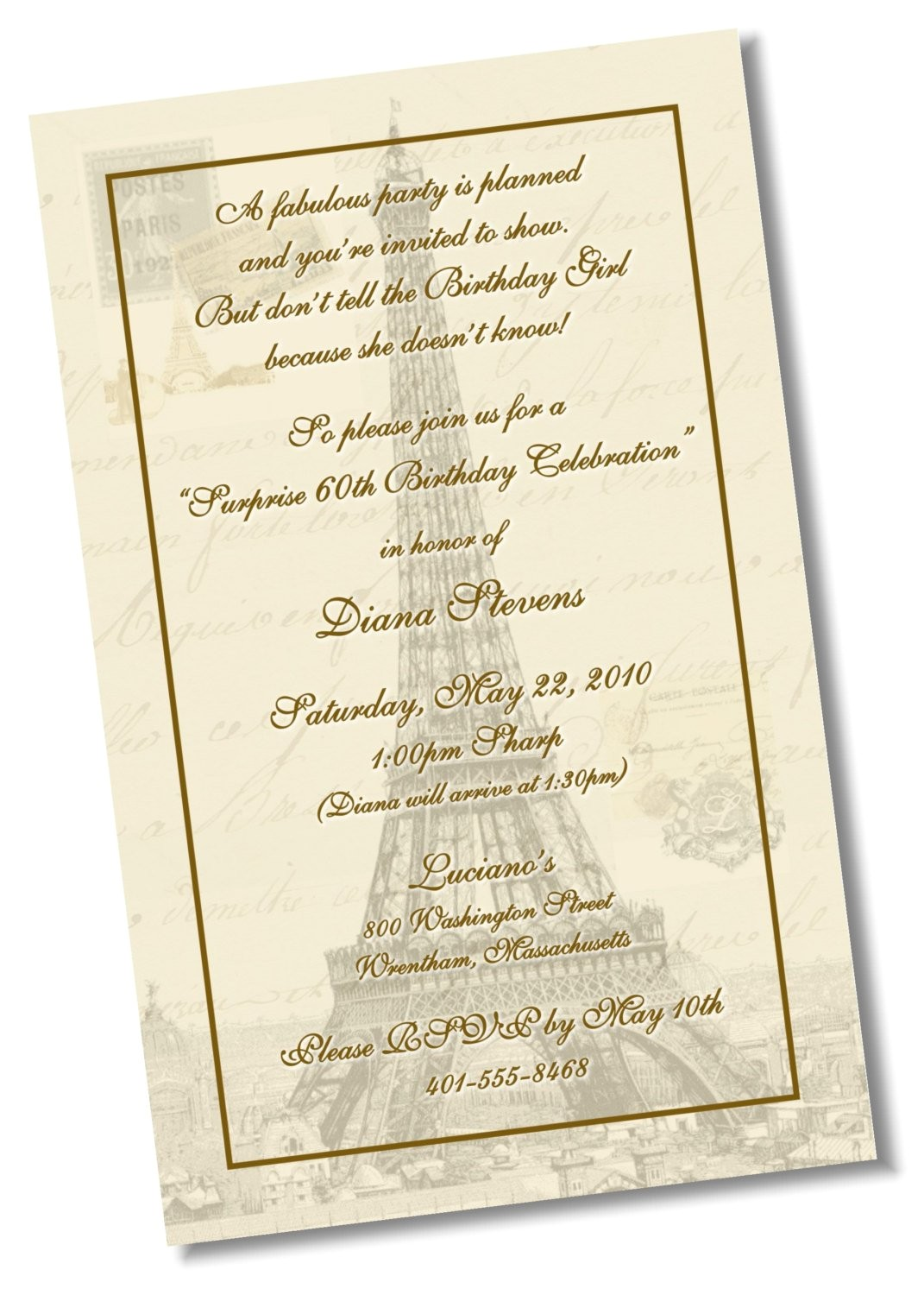 60th birthday paris theme invitation diy