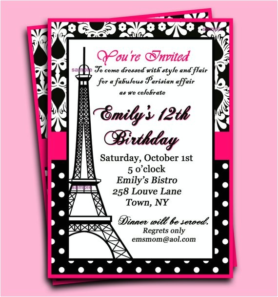 paris invitation printable parisian chic