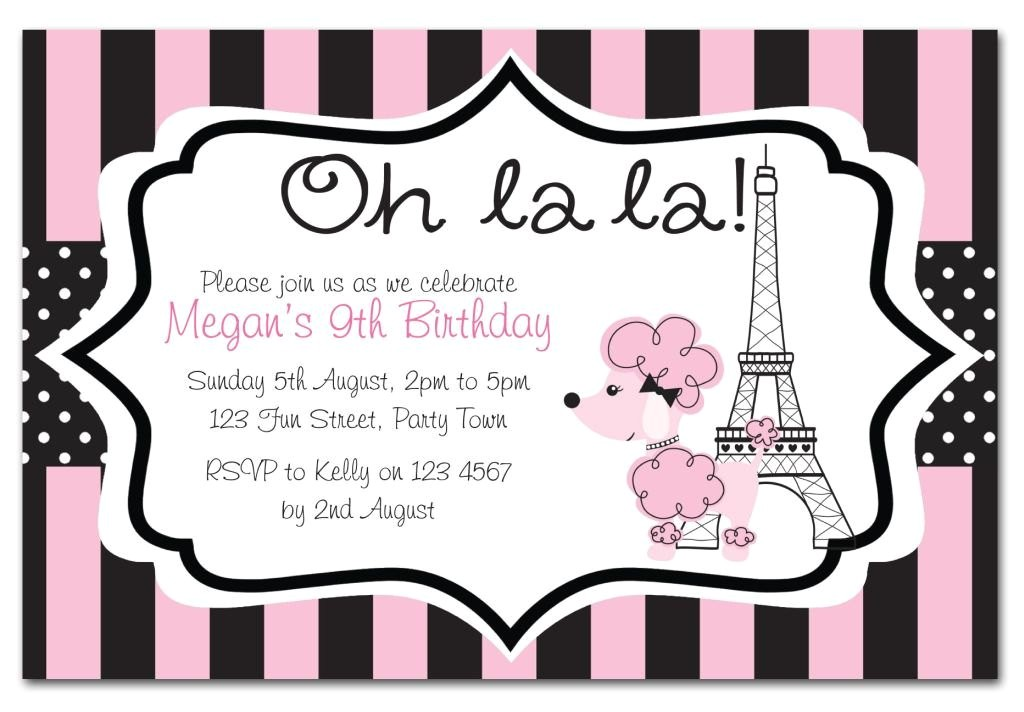 paris themed birthday party invitation