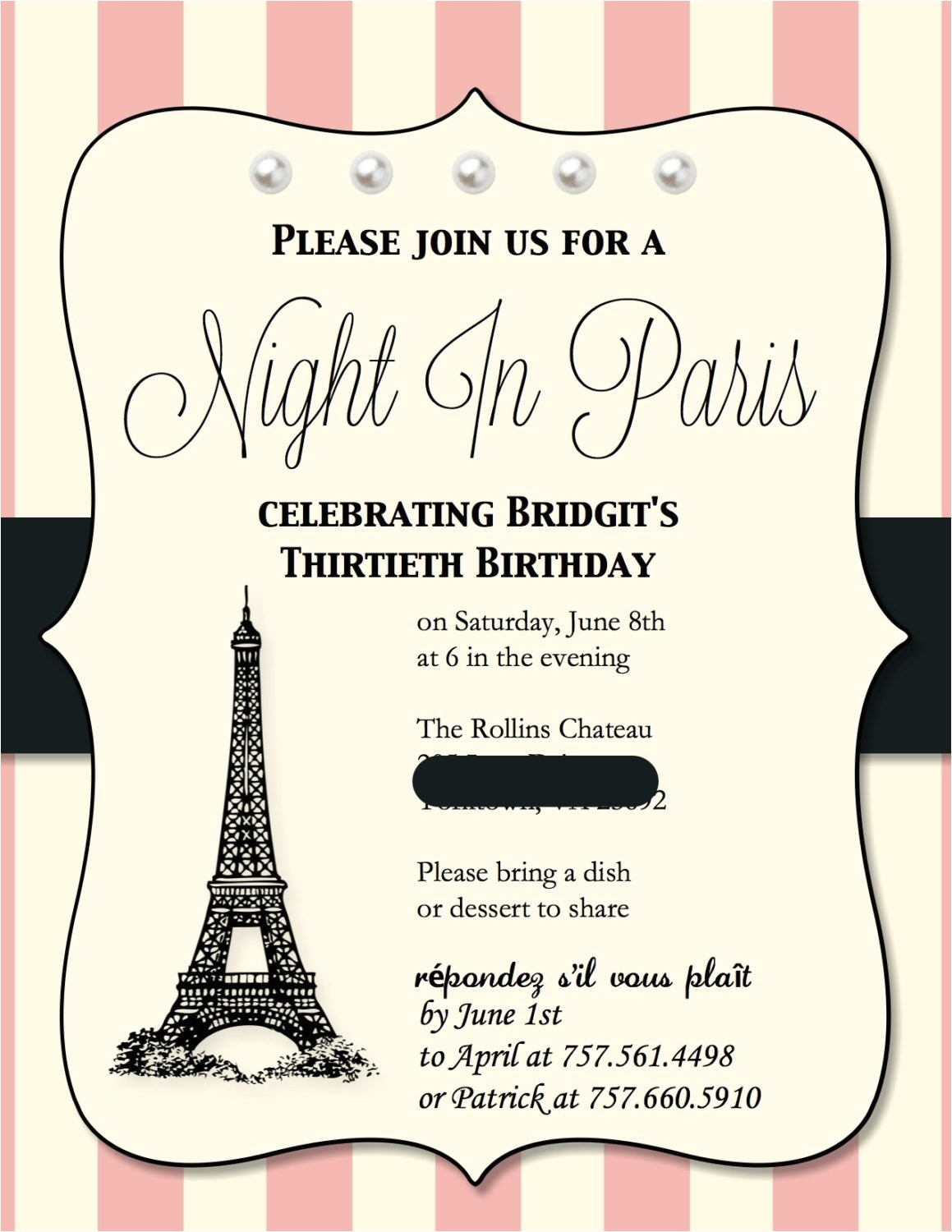 paris themed birthday party invitations