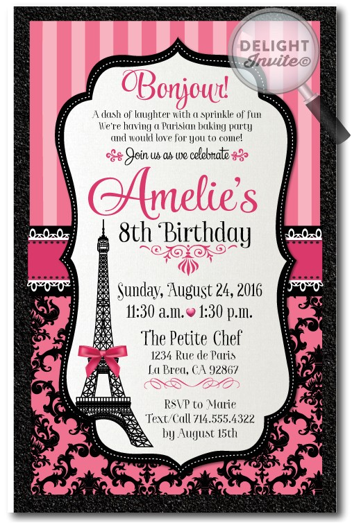 parisian bakery party birthday invitations p 3466