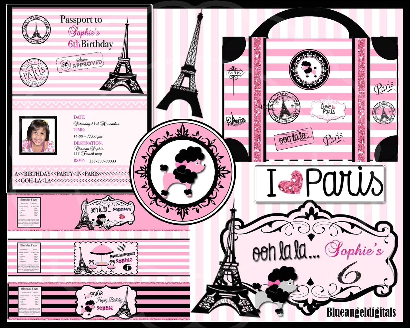 post paris themed birthday party free printables 278190