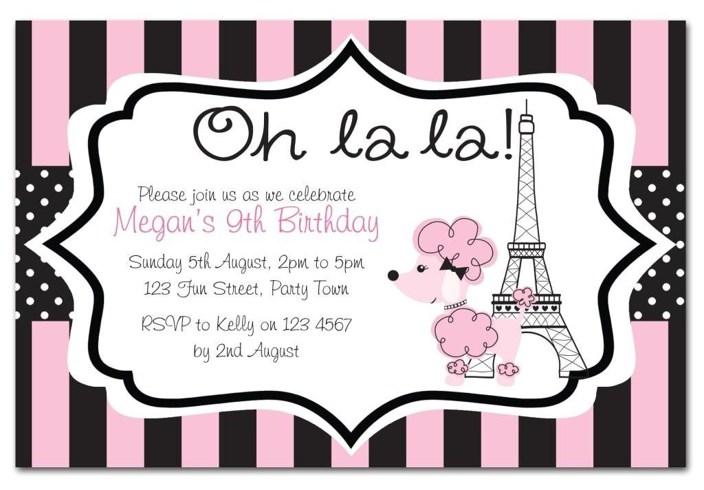 paris themed birthday party invitation