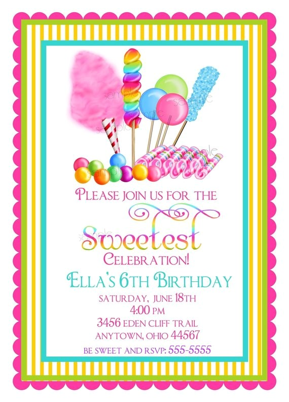 candy invitations sweet shop birthday