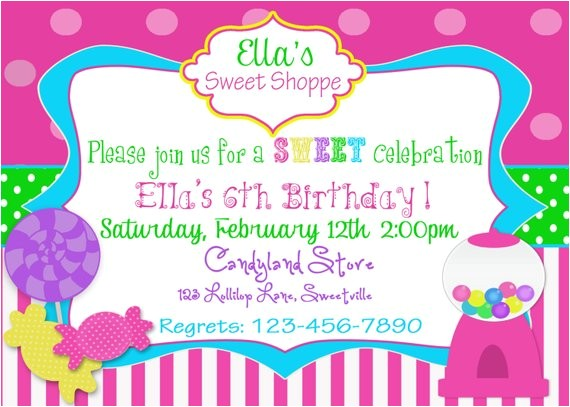 sweet shop candy party invitation