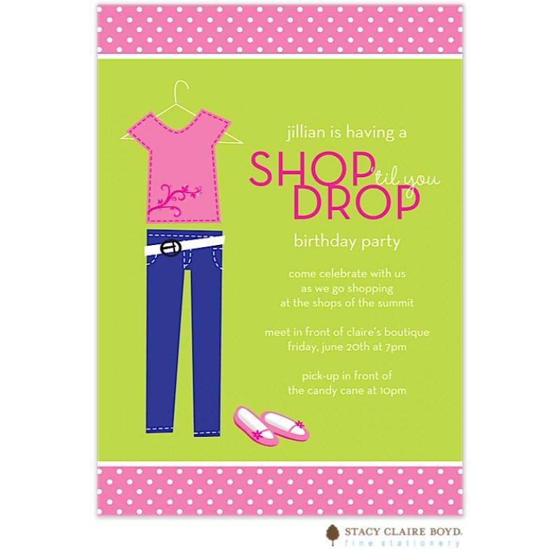 shop til you drop party invitation