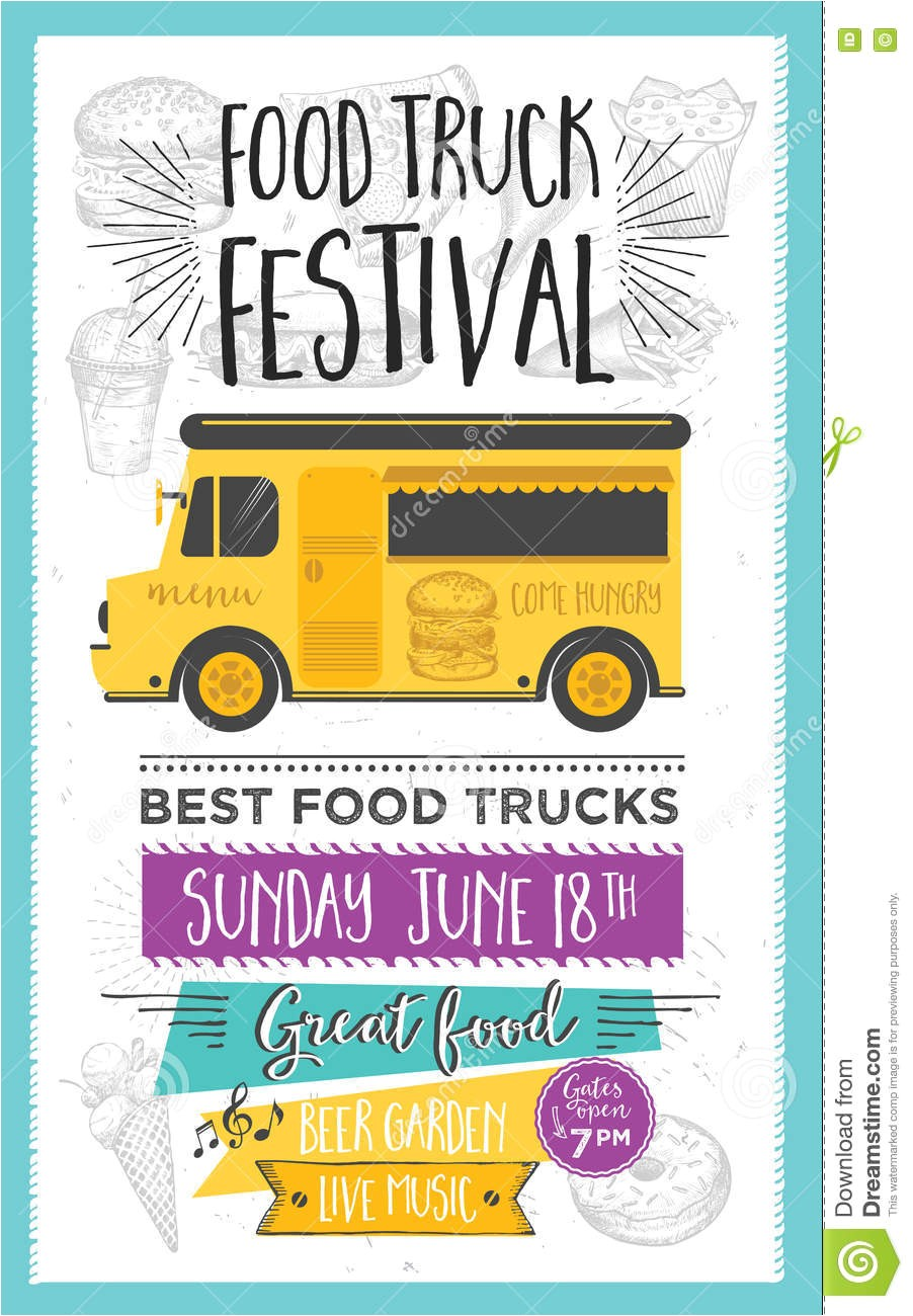 stock illustration food truck party invitation food menu template design food fly festival brochure street vintage creative hand drawn graphic image71334570