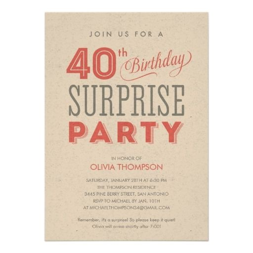 surprise 40th birthday invitations wording