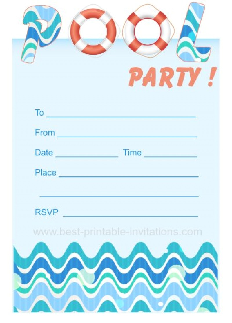 blank pool party ticket invitation template
