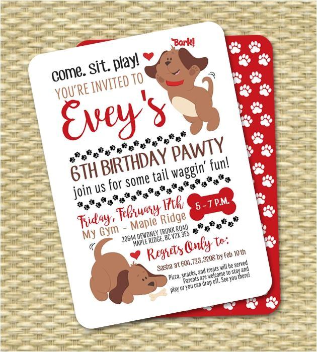 puppy party invitation puppy birthday invitation kids birthday