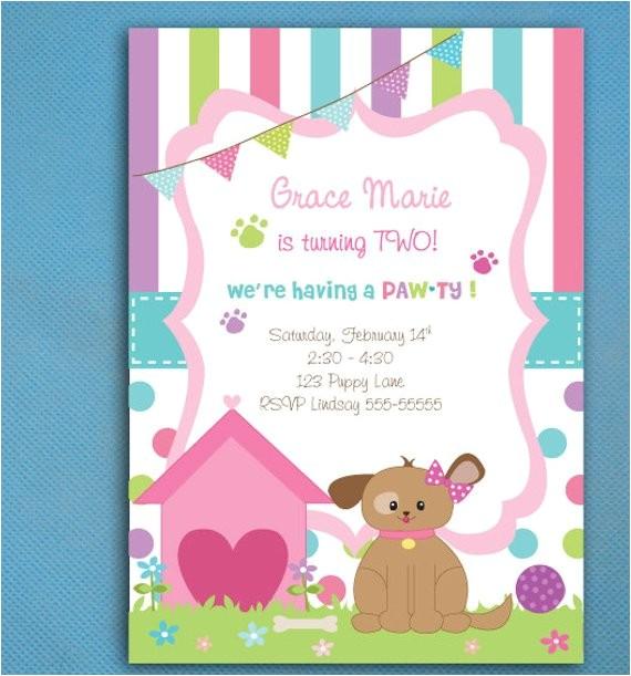 puppy party invitations girls puppy adoption