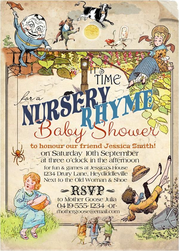 nursery rhyme baby invitation