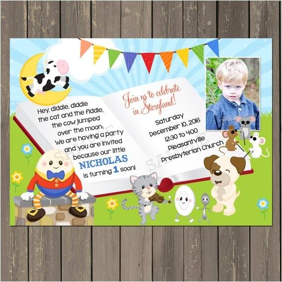 storybook nursery rhyme birthday party invitation 2