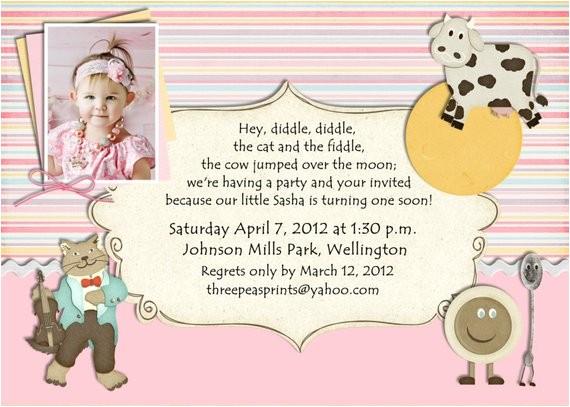 nursery rhyme birthday invitation mother goose