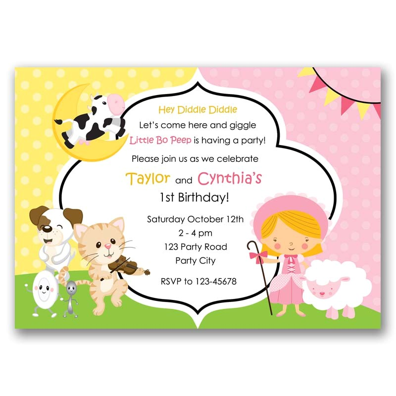 nursery rhymes birthday invitation split joint twin