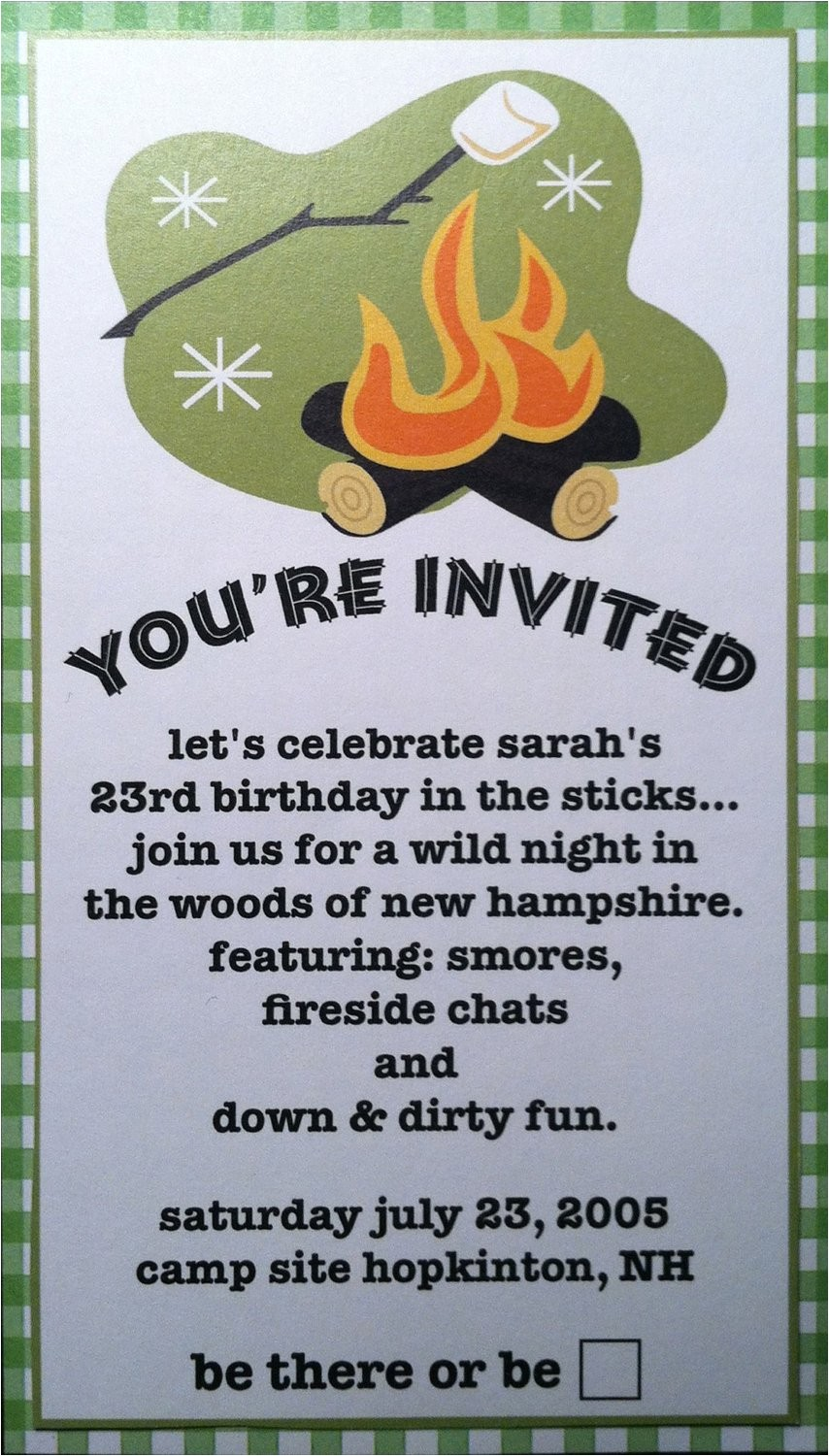 camping outdoor party invitations